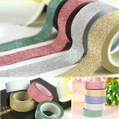 10m Glitter Washi Sticky Paper Masking Adhesive Tape Label Craft Decorative DIY