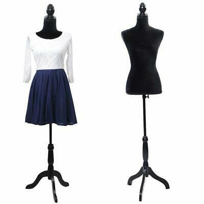 Female Mannequin Torso Clothing Dress Form Display W/ Black Tripod Stand Black