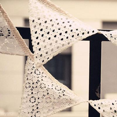 White Fabric Pennant Triangle Flag String Banner For Home Party Wedding Decor