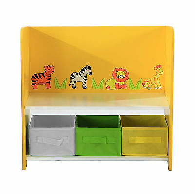 Charles Bentley Jungle Safari Storage Unit With Shelf & 3 Boxes Children'S Toys