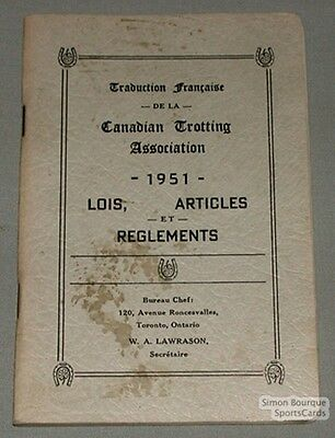 1951 Canadian Trotting Ass. By-Laws & Rules Book