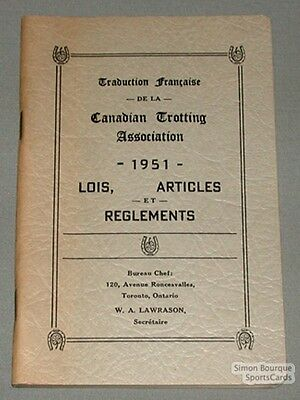 Original 1951 Canadian Trotting By-Laws & Rules Book