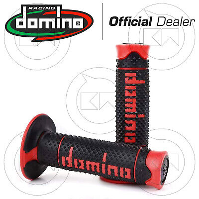 COPPIA 2 MANOPOLE DOMINO RACING NERO/ROSSO CROSS SOFT GRIPS HANDGRIPS 119mm