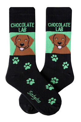 Chocolate Lab Socks Lightweight Cotton Crew Stretch Egyptian Made