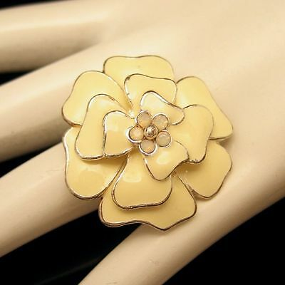 Vintage Flower Cocktail Ring Large Beige Enamel Rhinestone Size 7 Adjustable