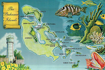 Greetings from the Bahamas Islands, New Providence etc., Fish --- Map Postcard