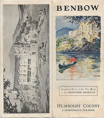 1920s Advertising Brochure for the Benbow Inn Hotel Humboldt County CA
