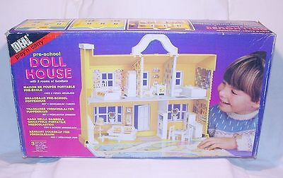 Ideal Play'n Carry LARGE DOLL HOUSE 5 Rooms + Furniture Loaded Set New! MIB`86!