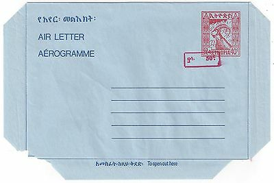 ETHIOPIA 1976 AIR LETTER REVALUED 50¢ ON 40¢ IN RED MINT FG 27a UNLISTED
