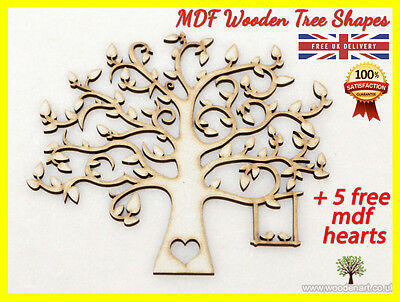 MDF Tree Shape Wooden Cut Family Tree Guestbook Crafting Card making Wedding