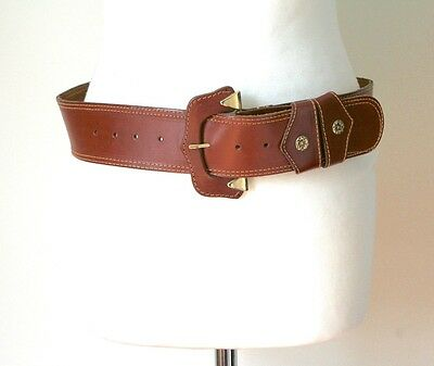 M -Tan Brown Leather Vintage Belt - 1980s Wide