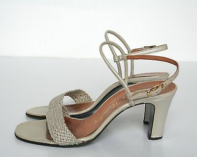 UK 5 Russell & Bromley Vintage Sandals - 1980s Oyster Beige Leather - 38