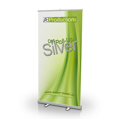 Roll-Up Silver, Rollup, Roll-Banner, Rollbanner 85 x 200 cm