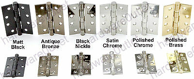1 pair of BALL BEARING FIRE DOOR HINGES 2 sizes in 6 finishes available
