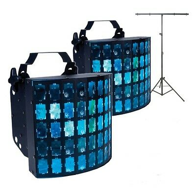 2x American DJ Dekker LED Disco Stage Lighting Effect With T-Bar Lighting Stand