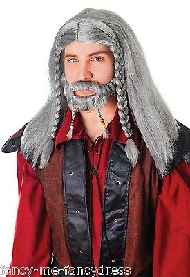 Mens Grey Medieval Plaited Wig Goatee Beard Wizard Fancy Dress Costume Outfit