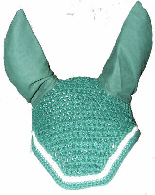 Ecotak Crochet Bonnet/Ear Net - Bottle Green & White Full size Ecotak