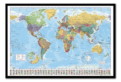 World Map & Flags Pinboard - Quality Framed Cork Board With Pins - Ready To Hang