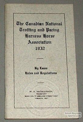 Original 1932 Canadian Trotting By-Laws & Rules Book