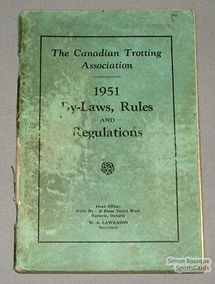 Orig. 1951 Canadian Trotting Ass. By-Laws & Rules Book