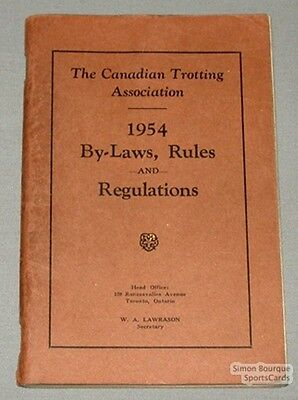 Orig. 1954 Canadian Trotting Ass. By-Laws & Rules Book