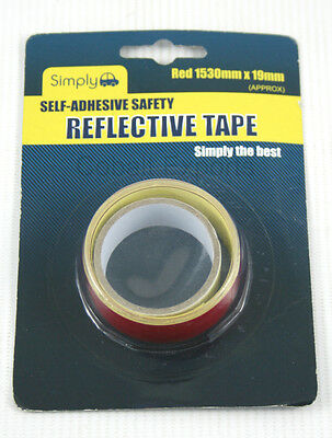 Self Adhesive Safety Reflective Tape Red 1530mm x 19mm For Bikes Cars