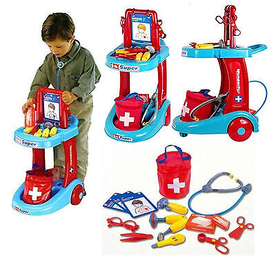 Childrens Pretend Doctors Hospital Medical First Aid Trolley Kids Role Play Set
