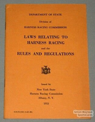 Orig. 1953 Harness Racing Commission Laws & Rules Book