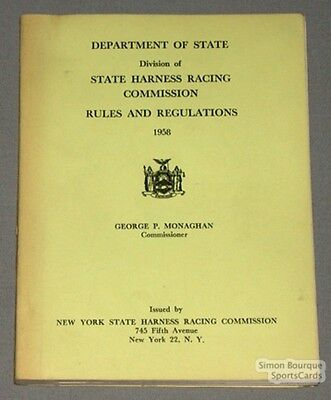 Orig. 1958 Harness Racing Commission Laws & Rules Book