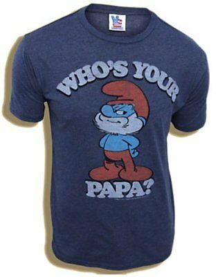 Junk Food Classic Cartoons Smurfs Papa Smurf Who's Your Papa Navy Adult T-shirt