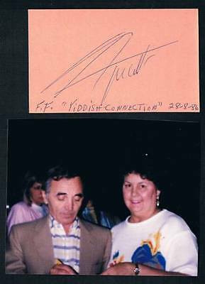 1986 Original French Armenian Singer Charles Aznavour Signed Cut Square