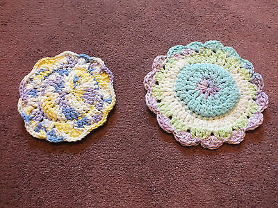Collectible Handmade Dish Cloth Scrubbers Set 2 Purples White Blues Yellow NICE
