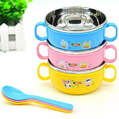 Children Kids Handle Bowl Food Container Lunch Box Stainless Steel Nonslip+Spoon