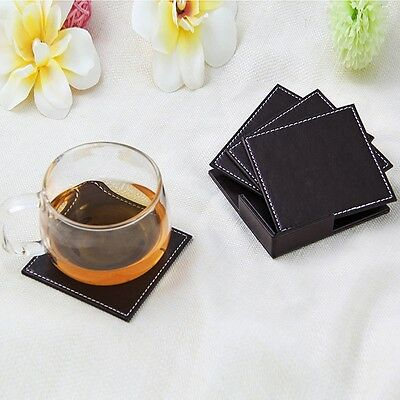 6PCS PU Leather Coasters Cup Glass Table Mat Pad with Coaster Holder 2 Colors G6