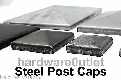 Decorative Pressed Steel SQUARE POST CAPS  FENCE Box Section Caps with Flange