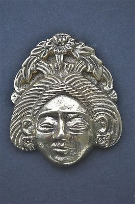 Antique style Asian lady head solid brass furniture mount ormalu H7