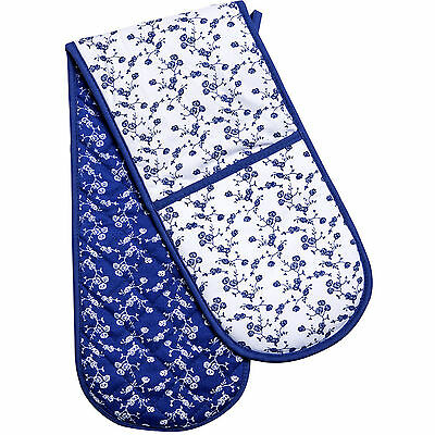 Blue Rose Double Oven Glove Extra Thick Padded Cotton Heat Resistant Kitchen New
