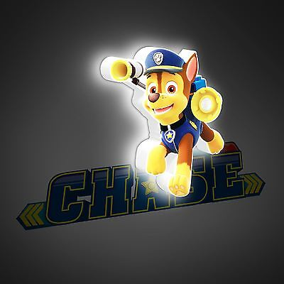 Official Paw Patrol Chase Mini 3D Led Wall Light Kids Bedroom Lighting