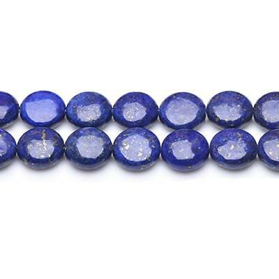 Strand Of 35+ Blue Lapis Lazuli 10mm Puffy Coin Beads GS0221-1