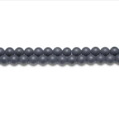 Strand Of 95+ Black Onyx 4mm Frosted Round Beads GS5624-1