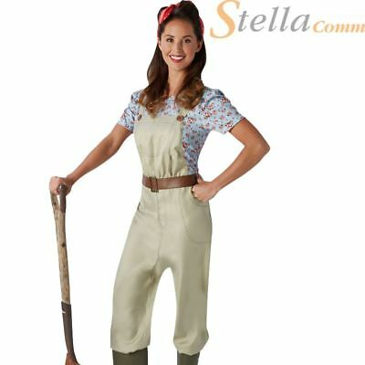 Ladies Land Girl World War Army Outfit WW2 1940s Fancy Dress Costume Dungarees