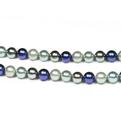 Strand Of 45+ Blue/Silver South Sea Shell Pearl 8mm Plain Round Beads GS8165-1