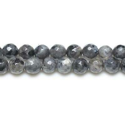 Strand Of 45+ Black/Grey Larvikite 8mm Faceted Round Beads GS8636-3