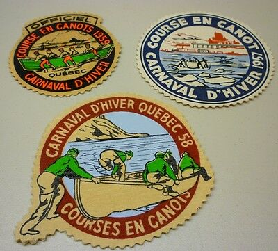 Original 1957-58-59 Quebec Carnival/Carnaval Canoe Race Official Patches
