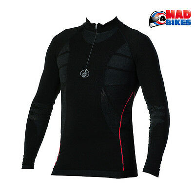 Carbon Energized Zipped L / Sleeve Compression Motorcycle Base Layer Under Shirt