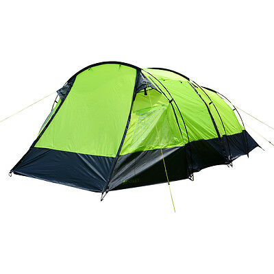 Charles Bentley 4 Person 2 Room Waterproof Tunnel Tent Camping Outdoor - Green