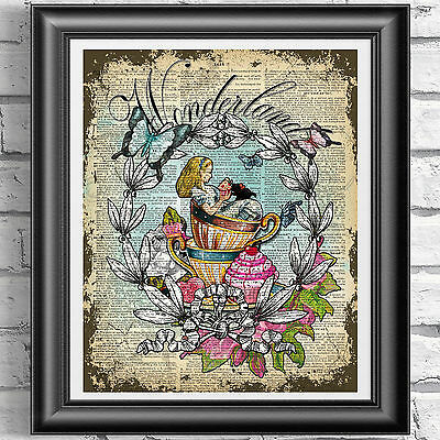 Alice in Wonderland Cupcake Print Vintage Dictionary Page Picture Wall Art