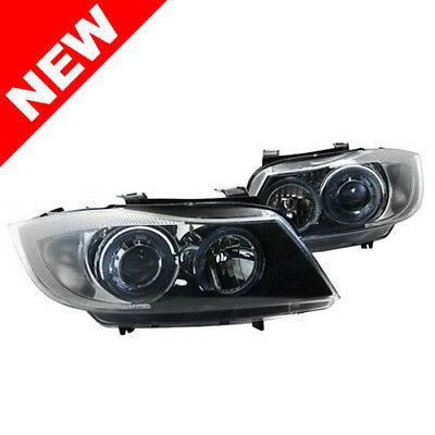06-08 Bmw E90/e91 Depo Black E-Code Projector Headlights W/ Angel Eyes