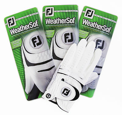 Three(3) New FootJoy WeatherSof Left Gloves for Right Handed Golfer, Pick Size