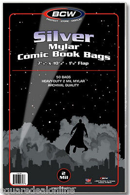 (500) BCW-SIL-M2 Silver Age Comic Mylar 2mil Sleeves Bags Covers Store Protect
